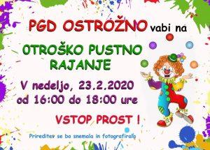 PGD Ostrožno vabi na pustno rajanje 23.2.2020 od 16.00 do 18.00 ure (VSTOP PROST) @ Gasilski dom PGD Ostrožno